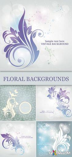 Jentle Vintage Floral Backgrounds Vector