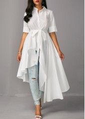 Asymmetric Hem Half Sleeve White Long Blouse, chic, fashion, white long shirt for fall, check it out Trendy Tops For Women, Blouses For Women, Clothes For Women In 20's, Stylish Dresses, Fashion Dresses, Mode Chic, Mode Hijab, Trends 2018, Long Blouse