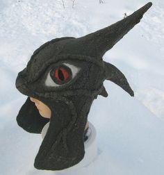 """Купить Шлем """"Дракон"""" - нунофелтинг, креативный подарок, молодежная мода, тёмно-зелёный, шапка с ушками"""