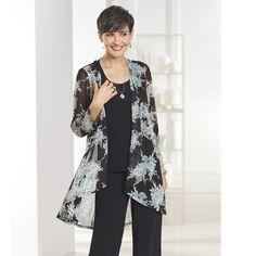 Misses/Women's Seafoam Floral Jacket - NorthStyle Women's Fashions