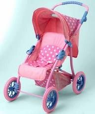 $69.96 Sweet Baby Nursery Stroller. The perfect doll stroller for all you of your Madame Alexander Baby Dolls, specially designed in their logo Pink Polka dot fabric with blue accents.