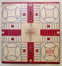 Patriotic Parcheesi. 19th century Parcheesi game board in original red, white, and blue paint.