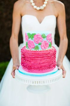 Lilly Pulitzer Inspired Wedding Cake Bright & Colorful Lilly Inspired Summer Wedding Ideas Photographer:  Magnolia Photography