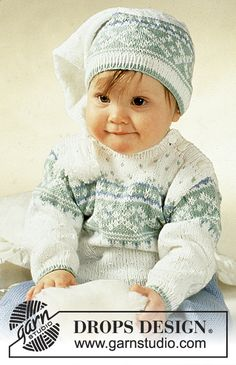 """Nighty Night - DROPS jumper with star pattern, trousers, hat, socks and mittens in """"Camelia"""". - Free pattern by DROPS Design Baby Knitting Patterns, Baby Cardigan Knitting Pattern, Knitting For Kids, Baby Patterns, Free Knitting, Crochet Patterns, Nighty Night, Drops Design, Cardigan Bebe"""