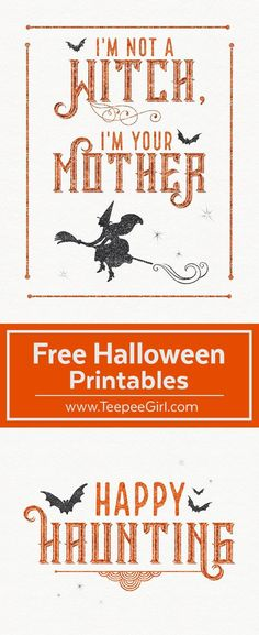 These free Halloween printables are the perfect way to decorate your space for Halloween! They come in two sizes (8x10 & 5x7) and are beautiful in a frame or just hanging up on the fridge. www.TeepeeGirl.com #Halloweenprintables #freeprintables #freehalloweenprints