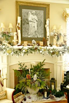 Living Room Christmas Mantel Hearth 2012 by Serendipity Refined