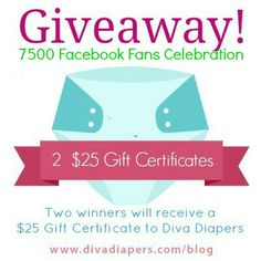 Facebook Fan Celebration Newborn Diapers, Cloth Diapers, Baby Giveaways, Gift Certificates, My Baby Girl, Celebration, Diva, Facebook, Cards
