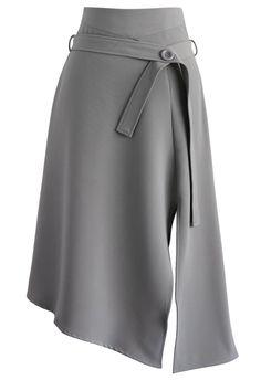 Bravo Split Hem Midi Skirt in Grey