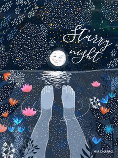 Starry Night Mini Art Print by Mia Charro - Without Stand - x Art And Illustration, Illustrations Posters, Art Inspo, Kunst Inspo, Karten Diy, Art Design, Oeuvre D'art, Art Photography, Artsy