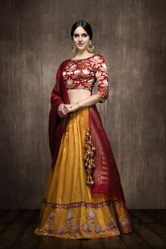 Looking for Mustard silk lehenga with red benarasi blouse? Browse of latest bridal photos, lehenga & jewelry designs, decor ideas, etc. on WedMeGood Gallery. Lehenga Style, Silk Lehenga, Sari, Lehenga Blouse, Designer Bridal Lehenga, Indian Bridal Lehenga, Choli Designs, Lehenga Designs, Indian Attire