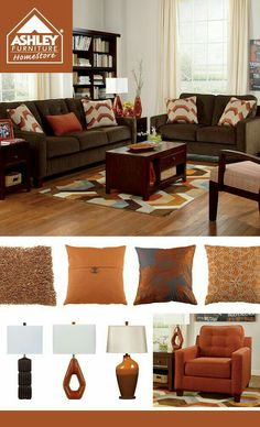 Rustic Orange + Chocolate Brown   I Need Those Pillows With The Stripes