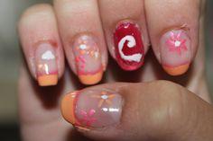 Summer nails + Coca cola nail art! Pink & Orange + Red & White