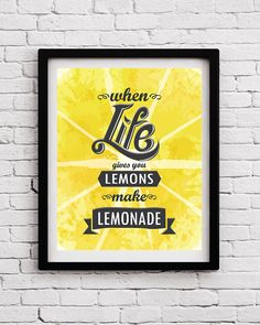 When life gives you lemons Kitchen print Motivational quote print Optimistic poster Typographical print Kitchen art Kitchen decor Kitchen by BlackPelican on Etsy
