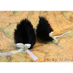 Promotion - Black Long Fur 9 cm Cat Ear Hair clip , Kitty ear FOX ear... ($5.88) ❤ liked on Polyvore featuring accessories, hair accessories, cat ear hair clips, barrette hair clips, ribbon headband, snap hair clips and cat hairband