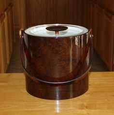 Vintage Georges Briard Brown Ice Bucket, Champagne Bucket with Lucite Lid and Handle