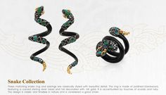 By Lotus Arts de Vivre : Snake Collection, Matching snake ring and earrings, made of polished blackwood, featuring a carved sterling silver head and tail decorated with 18k gold. Accentuated by touches of scarab and ruby.