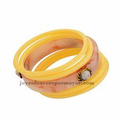 pulsera carey en color amarillo y rosa para mujer BRBTG73079