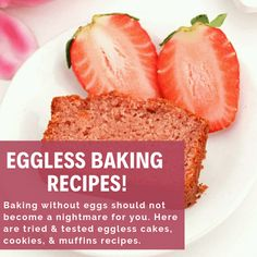 Collection of TRIED AND TESTED eggless baking recipes. Recipes include eggless cookies, eggless cupcakes, eggless muffins, eggless desserts, eggless cakes etc. Egg-free baking at its best! Eggless Muffins, Eggless Desserts, Eggless Baking, Muffin Recipes, Baking Recipes, Cake Recipes, Dessert Recipes, Simple Eggless Cake Recipe, Baking Without Eggs