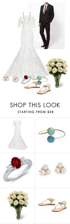 """""""wedding"""" by cnle ❤ liked on Polyvore featuring Marchesa, Blue Nile and Kate Spade"""