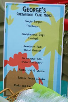 Menu at a Dinosaur Party birthday halloween party Birthday Party Menu, Dinosaur Birthday Party, 4th Birthday Parties, Boy Birthday, Third Birthday, Birthday Ideas, Babyshower, Lincoln Birthday, Party Themes For Boys