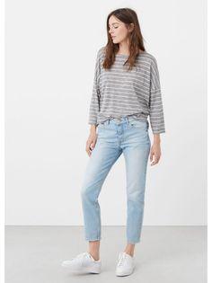 95973abb97 MANGO Fine-knit T-shirt Grey Mango Outlet, Capsule Wardrobe, Long Sleeve.  Superbalist