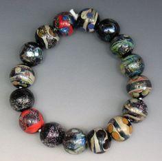 SJC Lampwork 16 handmade silver glass & dichroic round beads ~SRA~ USA~ #SJCLampwork #Lampwork