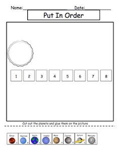 Put the planets in order cut/paste activity