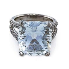 Antique Cushion 15.00ct Rare Aqua Platinum Micro Pave Diamond Ring - Peter Suchy Jewelers