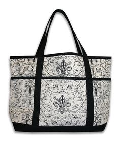 Take a look at this Natural & Black Lacina Canvas Tote by THRO on #zulily today!
