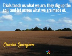 Trials teach us what we are; they dig up the soil, and let us see what we are made of. / Charles Spurgeon