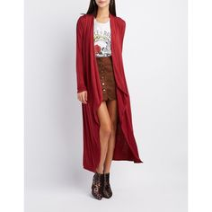 Charlotte Russe Waterfall Duster Cardigan ($17) ❤ liked on Polyvore featuring tops, cardigans, burgundy, long sleeve jersey, burgundy top, waterfall cardigan, layered tops and long burgundy cardigan