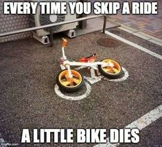 Don't skip your rides this weekend! Every time you skip a ride a little bike dies. Bike Ride Quotes, Cycling Quotes, Cycling Tips, Cycling Art, Road Cycling, Cycling Workout, Cycling Jerseys, Cycling Memes, Bike Workouts