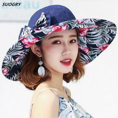 d812dcfadcbfd 2017 Fashion Women Hat Summer Large Brim Beach Sun Hats For Girl Protection  Women Printing Caps Hat With Big Head Lady Sun Hat  orc32859312489  -  31.72