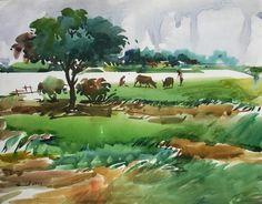 bangladesh Bengali Art, Landscape Paintings, Watercolour, Fantasy, Vacation, World, Travel, Beautiful, Art