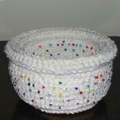 Recycled CD Rolled Edge Basket | AllFreeCrochet.com