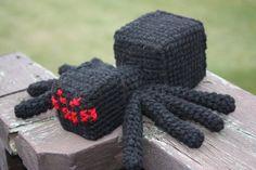 Crocheted Minecraft spider (original photo shared by 9Minecraft on facebook-no link)
