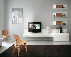 17 Stylish and Modern TV Wall Units by Alf Da Fre : Lovely Minimalist Modern Satin White TV Wall Unit With Cool Wall Mounted Bookshelves Modular Furniture, Furniture Layout, Furniture Design, Rooms Furniture, System Furniture, White Furniture, Antique Furniture, Furniture Ideas, Modern Furniture