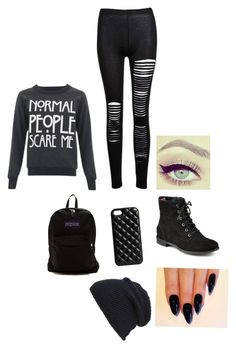 """""""Black."""" by hillaryhale2 ❤ liked on Polyvore featuring Sperry Top-Sider, JanSport, The Case Factory and Tasha"""