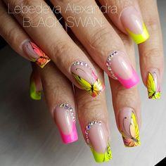 Luv Nails, Pretty Toe Nails, Neon Nails, Diy Acrylic Nails, Gel Nail Art, Acrylic Nail Designs, Butterfly Nail Designs, Butterfly Nail Art, Nail Art Designs Videos