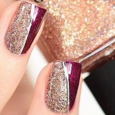 Nails-Designs-To-Try-This-Season/ holiday nails, christmas nails glitter, c Fancy Nails, Trendy Nails, Love Nails, Pink Nails, Xmas Nails, Holiday Nails, Christmas Nails Glitter, Gold Glitter Nails, Christmas Nail Art