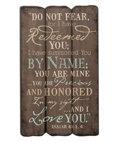 Look what I found on #zulily! 'Redeemed' Fence Post Wall Sign #zulilyfinds