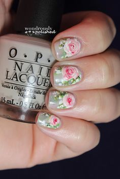 Delicate Floral Nail Art with roses like these shown here - https://www.youtube.com/watch?v=O8tEMJRE8sU