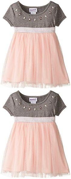 Blueberi Boulevard Baby Girls' Short Sleeve Jewel Neck Knit Mesh Dress, Grey, 18 Months
