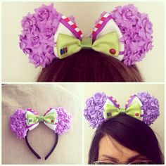Monsters inc inspired Mickey Mouse ears Diy Disney Ears, Disney Mickey Ears, Disney Bows, Disney Diy, Disney Crafts, Cute Disney, Disney Outfits, Disney Style, Mickey Mouse Headband