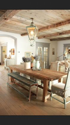love a wood celing and a wood floor, sheet rock walls!  Looove this!! Perfect country /summer home
