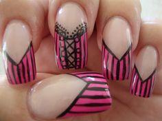 Hot Pink Corset - Nail Art Gallery by NAILS Magazine #nailart