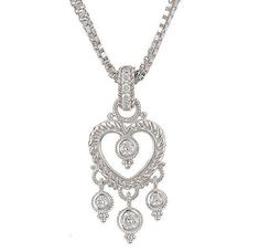 Sterling Silver Double Box Chain and Heart Enhancer Necklace. Free shipping and guaranteed authenticity on Sterling Silver Double Box Chain and Heart Enhancer NecklaceDesigned by Judith Ripka, this lovely chandelier-s...