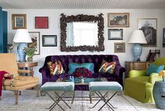 Purple velvet sofa with teal and lime.