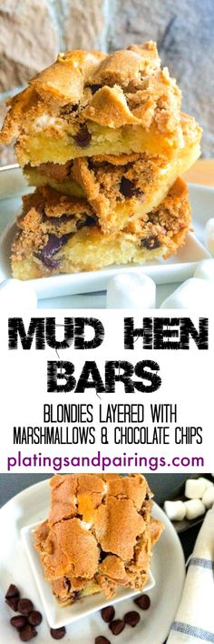 Crispy, crackley and SO GOOD! Marshmallows and chocolate chips layered into blondies!