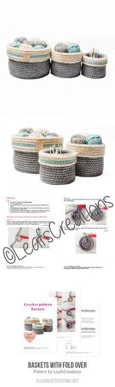 Baskets with fold over crochet pattern
